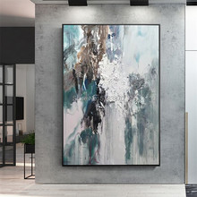 Handmade thick nordic abstract oil painting Large Blue White art Painting home Living Room Decor wall picture Artworks