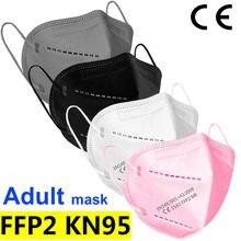 Masques faciaux de Filtration FFP2 KN95, bavette buccale à 5 couches fp2, Anti-poussière, Anti-buée et respirante, noir, fpp2
