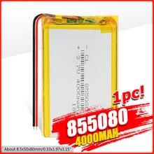 3,7 v li po литий-ионные аккумуляторы 3 7 v полимерная аккумуляторная батарея 855080 4000mAh для MP4 MP5 Tablet GPS DVD PDA MID BT Speaker