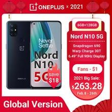 Oneplus nord n10 5g smartphone versão global 6gb 128gb snapdragon 690 90hz exibição 64mp quad cams warp 30t nfc telefones celulares