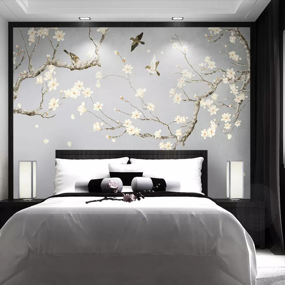 Milofi Custom 3D Wallpaper Mural Hand-painted Flowers And Birds New Chinese Style Wall Decoration Painting Decorative Painting