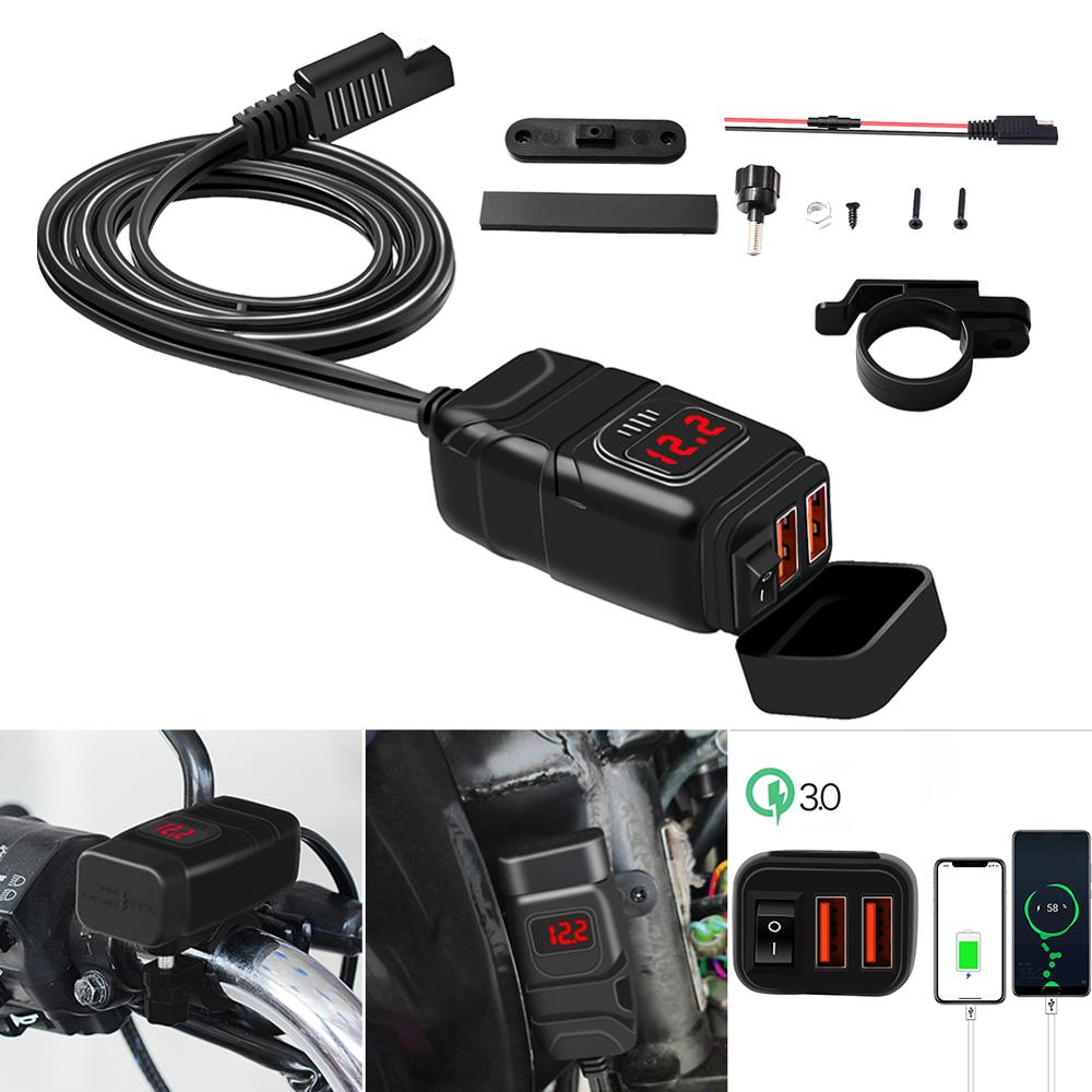 Motorcycle Quick Charger 12V SAE To USB Adapter With Voltmeter ON OFF Switch 3.0 USB Charger Motorcycle Accessories