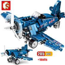 Sembo Block Military Fighter Building Block WW2 Helicopter US F4U Spitfire Fighter Army soldiers model bricks Toy for children assembled building block mediaeval castle soldiers model war military knights plastics figures toy diy toy for boys