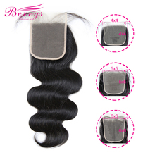 Transparent Lace Closure Body-Wave Human-Hair-Extensions Prepluncked Brazilian 4x4 5x5