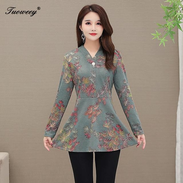 5XL Autumn Chiffon Blouse Shirts Casual floral Loose elegant v neck long Sleeve Floral Print Tops blusas blouse 2020 women 3