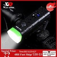 WEST RADFAHREN Bike Licht Smart Induktion Fahrrad Front Lampe Scheinwerfer Mit Horn Regendicht USB Aufladbare LED Radfahren Taschenlampe