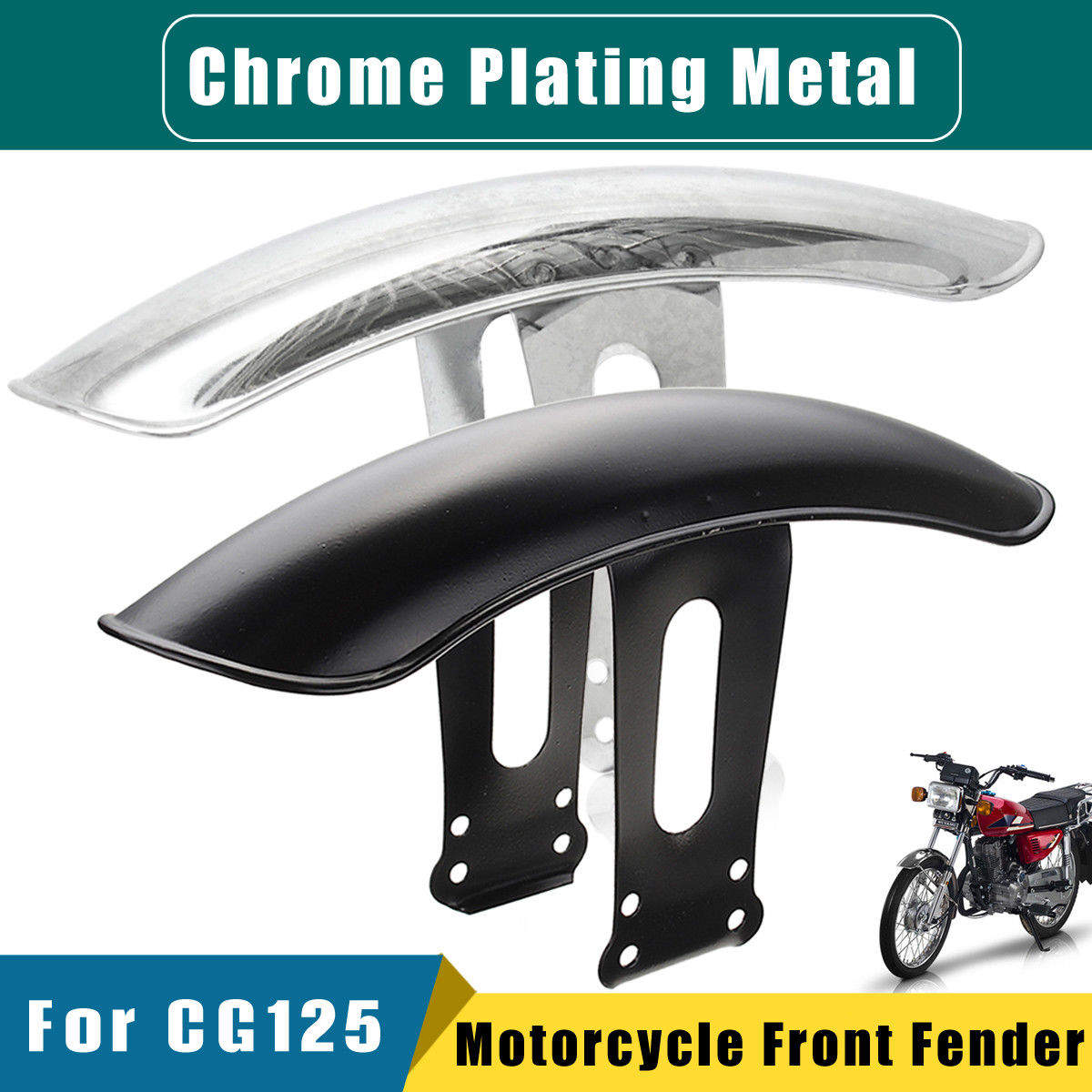 Color : Chrome Black and Chrome 1 PC of Motorcycle Front Fender,Mud Flap Guard Fairing Mudguard Cover for CG125 Retro. Motorcycle Mudguard