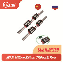 HGR20 HGH20 Square linear guides 1950mm 2000mm 2050mm 2100mm+4pc Slide Block Carriages bearing HGH20CA CNC Router Engraving