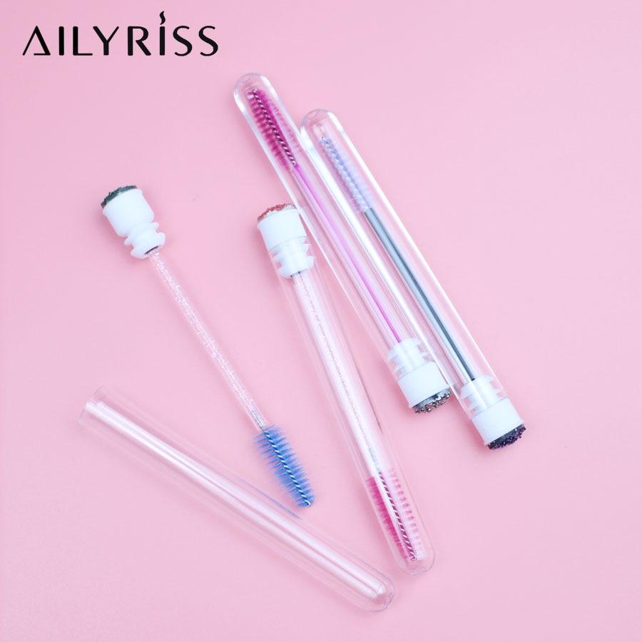 6 PCS Disposable Personal Diamond Eyelash Brushes Mascara Wands Brush With Separate Tube Eyebrow Brush