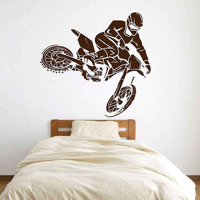 Motocross Dirtbike autocollant mural vinyle décor à la maison adolescents dortoir chambre stickers amovibles moto course peintures murales A535