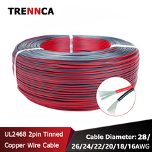 Extend Cord Car-Wire-Harness Cable Flexible Tinned Black UL2468 16/18/20awg 2pin Red