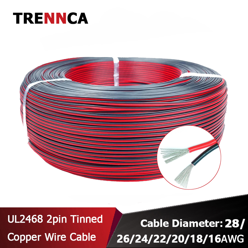 UL2468 2 pin Electrical Automotive Wires Tinned copper speaker Red Black Cable 16 18 22 24 26 awg LED Car fil electric wire 12V