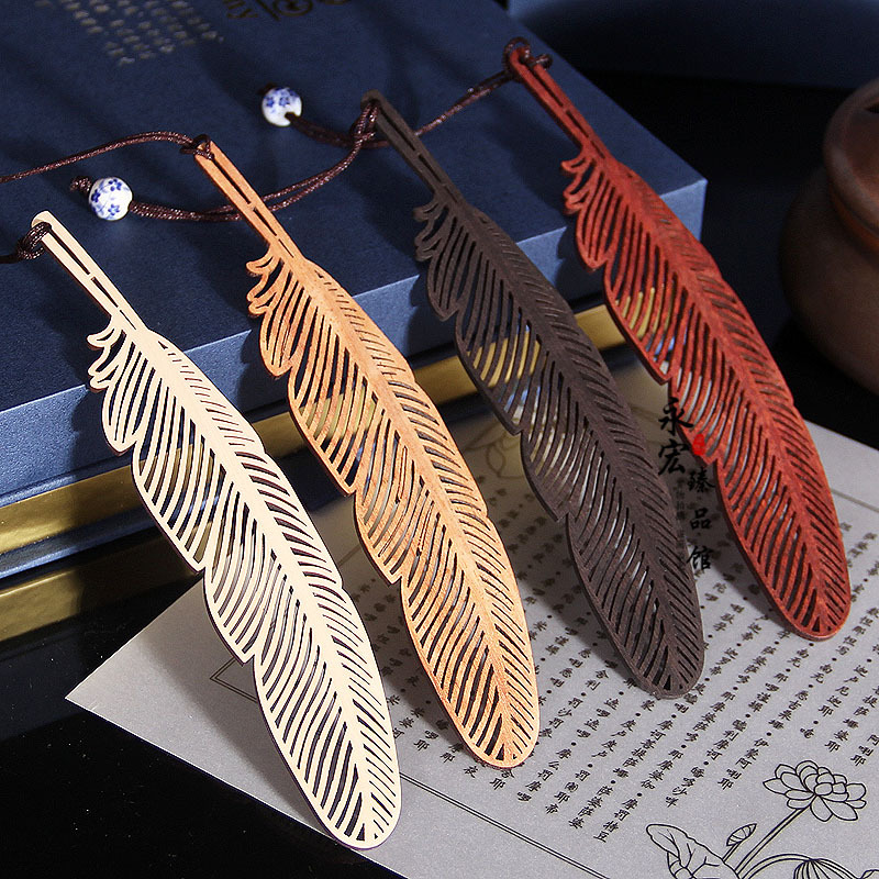 Creative Retro Chinese Style Feather Bookmark Pendant Wooden Book Mark Stationery School Office Supply Escolar Papelaria