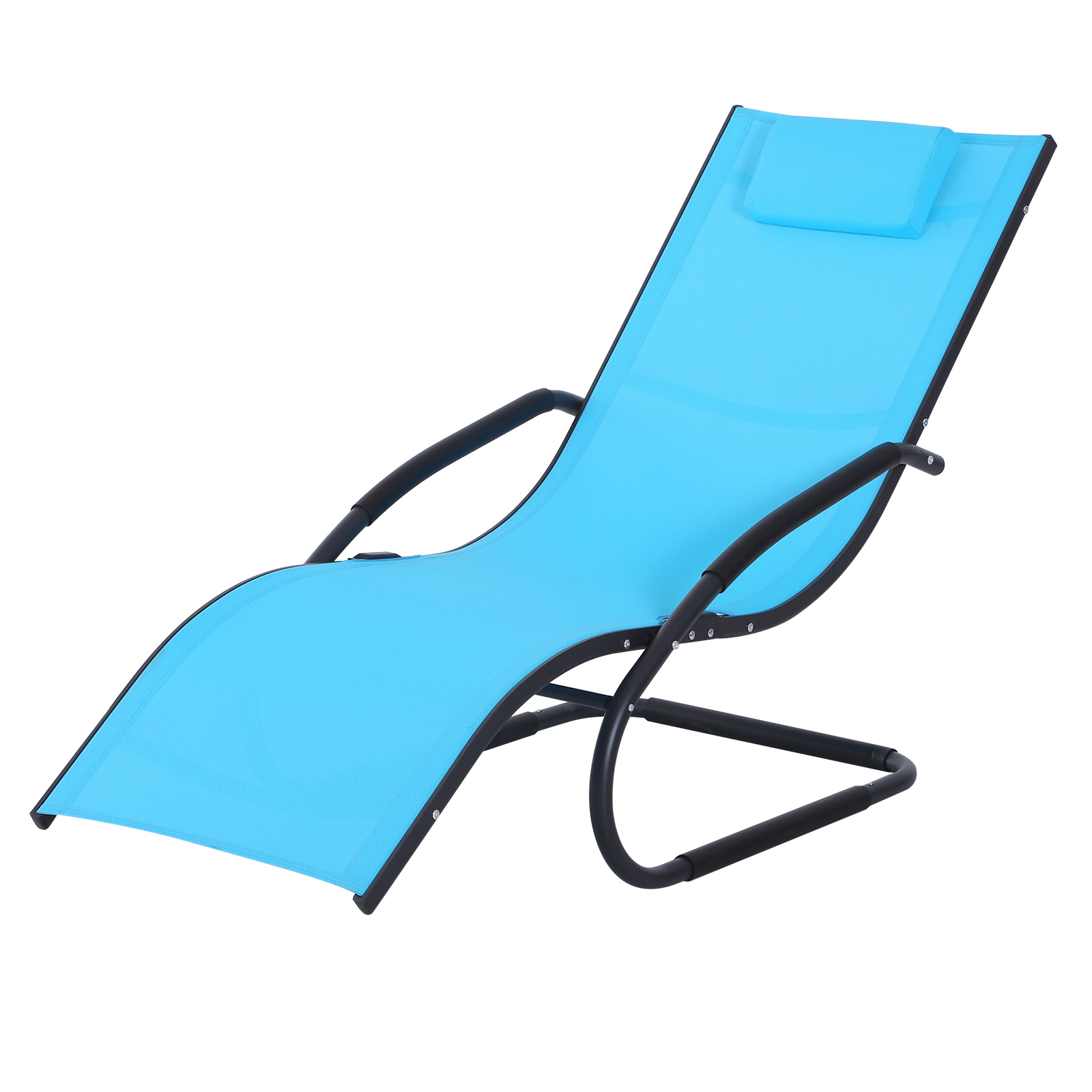 Outsunny Chair Lounger Garden Design Ergonomic Headrest Removable Fabric Outdoor 150x63x89 Cm Sky Blue