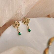 Ruifan Teardrop Emerald Green Cubic Zircon 925 Sterling Silver Stud Earrings 14K Gold Earring for Women Jewelry S925 YEA415 bling jewelry 925 sterling silver teardrop hook earrings