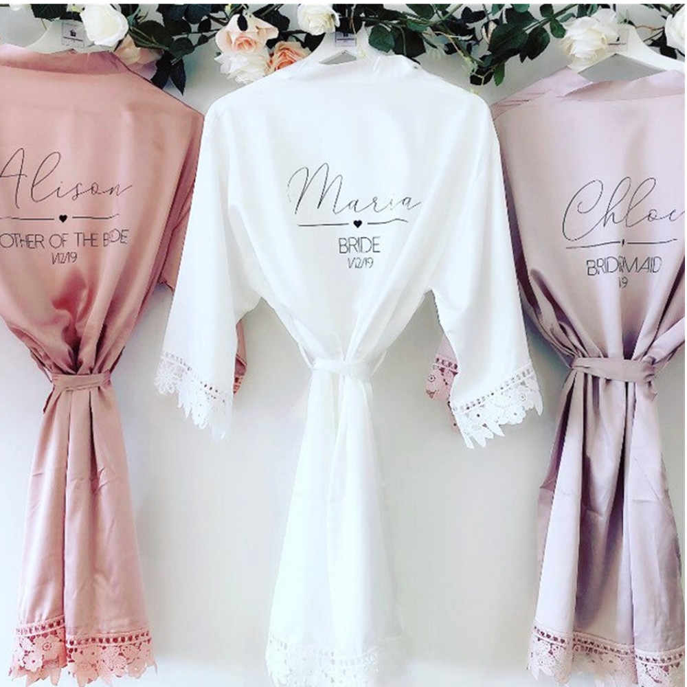 Menyesuaikan Mrs Satin Renda Bridal Jubah Bulan Madu Dressing Gown Bridesmaid Jubah Mandi Pengantin Bersiap-siap Pegtop Trousers, proposal Pernikahan Hadiah