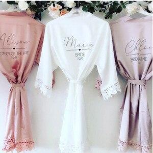 Dostosuj pani satynowa koronkowa suknia ślubna, szlafrok dla nowożeńców, szlafrok druhny, panna młoda przygotuj peignoir, prezent ślubny