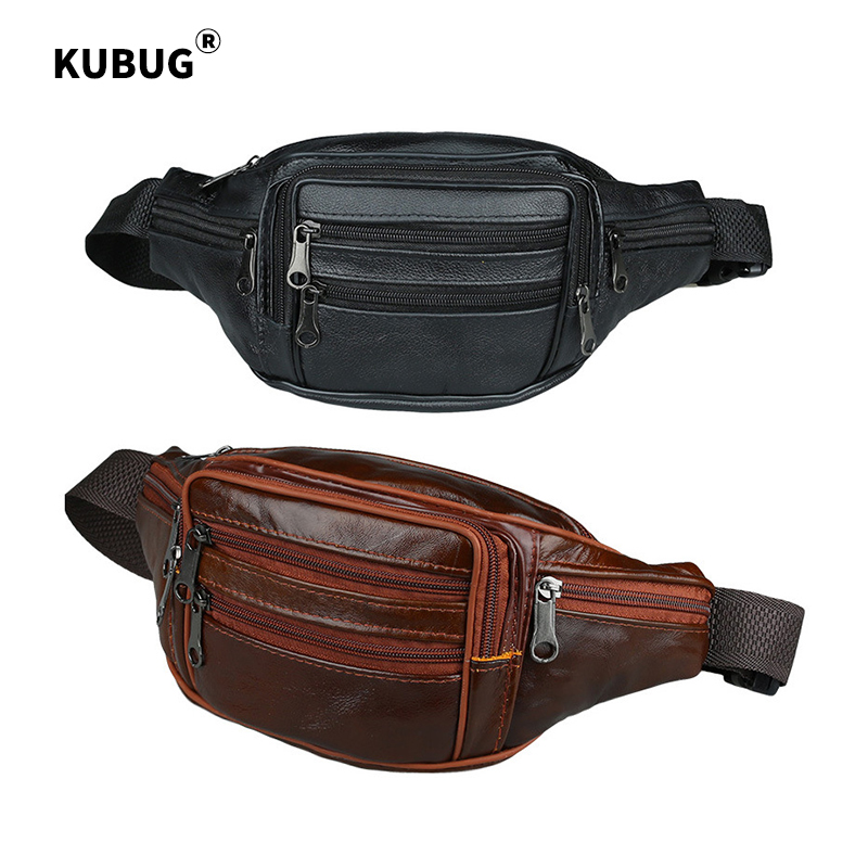 KUBUG Waist Packs Business Leather Purse Cowhide Travel Shouler Bag Outdoor Sports Running Cross-body Bags Storage Bags