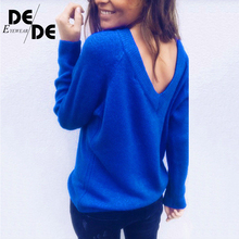 купить V Neck Loose Sweater Women Off Shoulder Autumn Sweater Pullover Womens Jumper Pull Femme Christmas Sweater Sexy Women Sweater по цене 2191.66 рублей