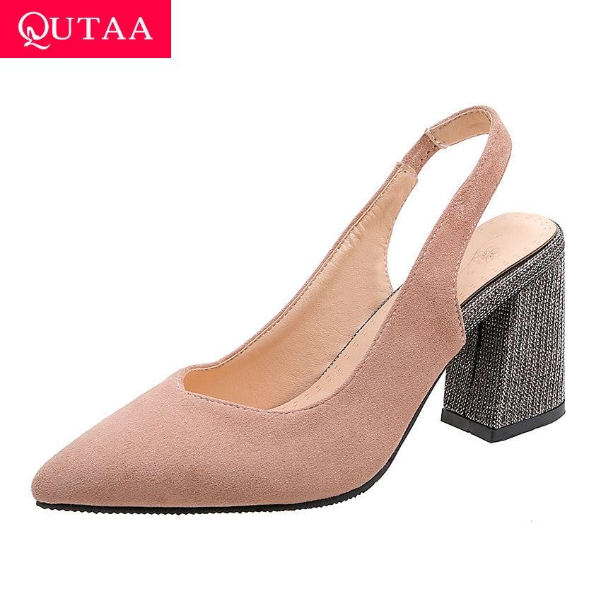 QUTAA 2020 Back Strap Flock Ladies Sandals Square High Heel Antiskid Women Shoes Fashion Pointed Toe Women Pumps Big Size 34-43