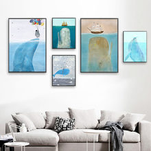 1 Piece Canvas Art Canvas PaintingBlue sea sailboat and fish HD Printed Wall Art Home Decor Poster Pictures(China)