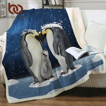 BeddingOutlet Penguin Family Blanket For Beds Animal Protection Bedding 3D Snowing Sherpa Fleece Blanket Blue Plush Bedspread