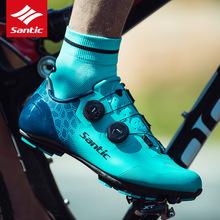 SanticNEW 2019 MTB Bike obuwie rowerowe Carbon Fiber ultralight Anti-ubiór antypoślizgowy samoblokujący sportowy rower terenowy buty tanie tanio EMONDER Średnie (b m) Lace-up Dla dorosłych Pasuje prawda na wymiar weź swój normalny rozmiar santicc Buty rowerowe