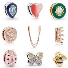 Серебряные бусины 925 пробы Любовь Сердце розовое золото подвеска талисманы подходят Pandora браслет reflexions DIY талисманы ювелирные изделия