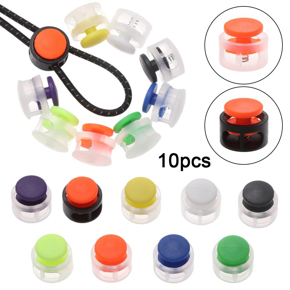 10 шт./компл. 7 мм Заглушка с двойным отверстием, многоцветная Нескользящая регулируемая пластиковая пробка, шнур для шнурков «сделай сам», шн...