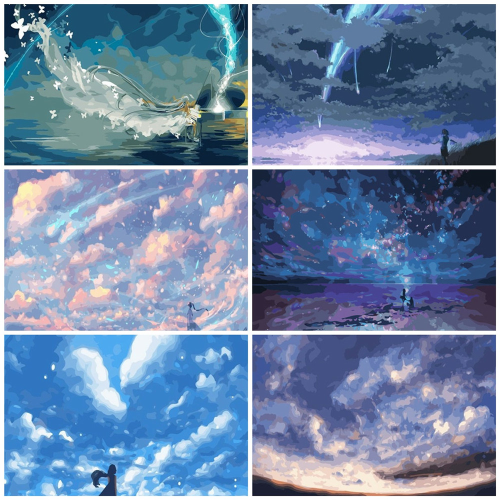 HUACAN DIY Painting By Numbers Scenery Drawing On Canvas Hand Painted Paintings Coloring By Number Sky Kits Home Decoration