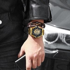 Image 5 - 수상작 공식 클래식 자동 시계 남자 해골 기계식 시계 톱 브랜드 럭셔리 골든 스테인레스 스틸 스트랩