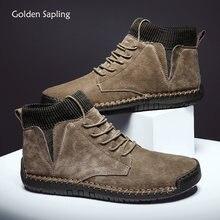 Классические Кожаные мужские ботинки золотистого цвета в стиле