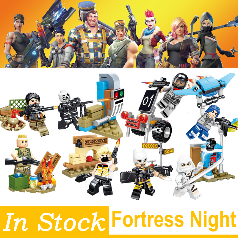 Fortnited Fortress Night Model Building Blocks bricks 8 in 1 Educational Toys Children Gifts Toys Mini Dolls Christmas Gifts 1