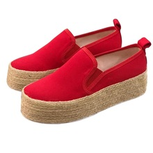 Europe Plus Size 35-43 Women Shoes Flat Platform Woman Bots Fashion Loafers Slip-on Casual Rome Woven Ladies