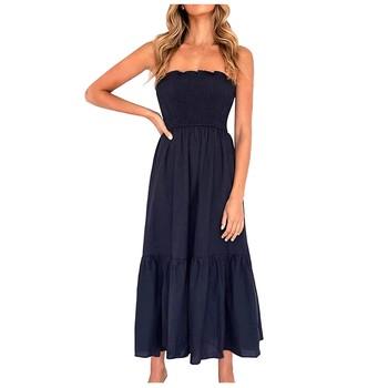 Lato kobiety Sexy czarna sukienka Plus rozmiar bez rękawów eleganckie sukienki bez ramiączek dla kobiet odzież Vestidos Mujer Verano 2021 tanie i dobre opinie A-LINE CN (pochodzenie) NONE Na co dzień Kostek COTTON POLIESTER Dla osób w wieku 18-35 lat Women Dress Pulower W klatce piersiowej do pakowania