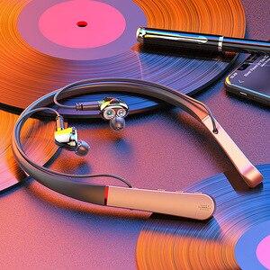 Проводные наушники Bluetooth V5.0, наушники с басами, стерео спортивные наушники, беспроводные наушники-вкладыши с шейным ремешком и микрофоном