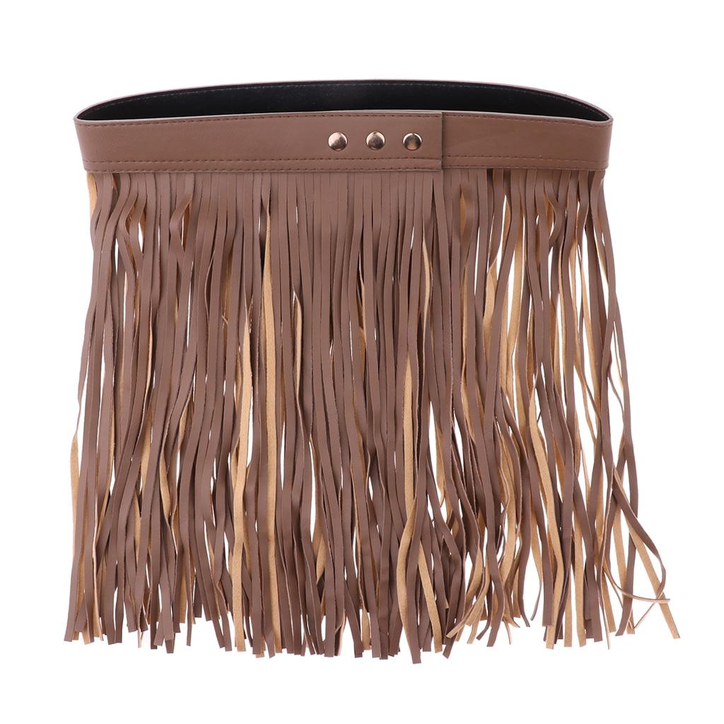 Lady Tassel Black PU Leather Long Belt Skirt Hippie Bohemian Samba Fringe Style