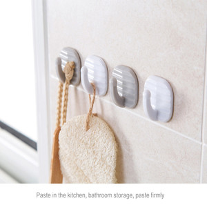 New Punch-Free Strong Paste Hook Household Gray Storage Hook Kitchen Small Piece Hook Bathroom Hook Bathroom Accessories