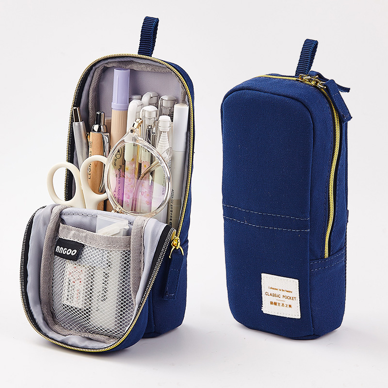 Korea Cute Pencil Case Standing Canvas Zipper Retro Pencil Box For Phone Pencilcase Stationery School Supplies Estuche Escolar
