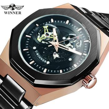 цена на WINNER Official Automatic Watch Men Luxury Skeleton Mechanical Watches Classic Stainless Steel Belt Business Casual Wristwatch
