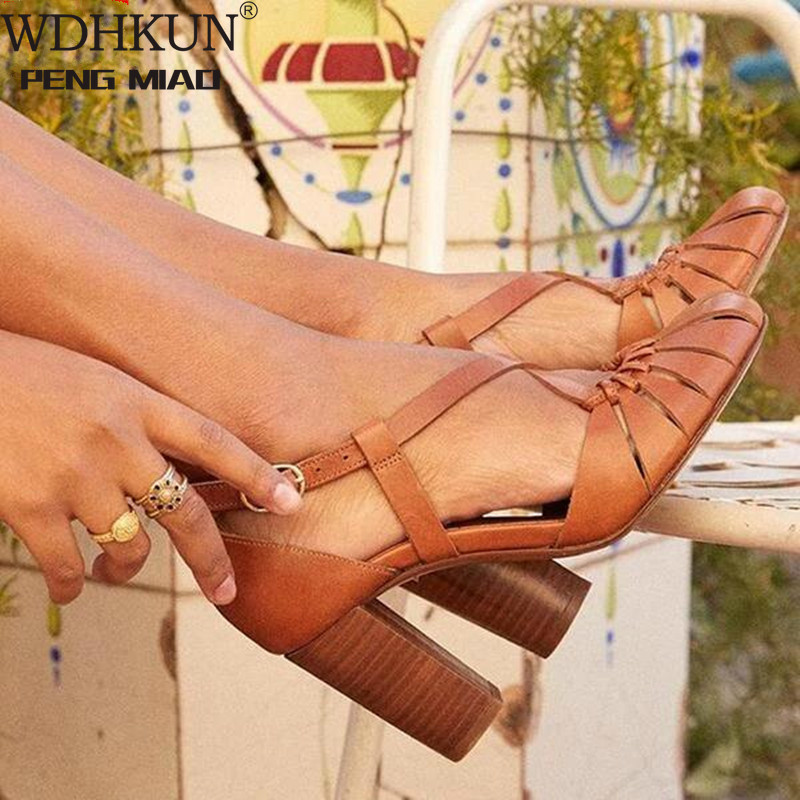 2020 New Style Elegant Strap Sandals Women 2020 Sandals Female Bohemian Style Summer Fashion High Heels Women's Shoes Footwea