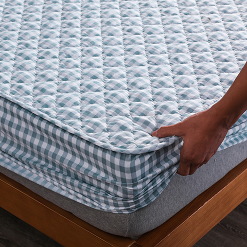 Cotton Thicken Quilted Mattress Cover Anti-bacterial Mattress Protector Topper Pad Soft Fitted Sheet Not Including Pillowcase