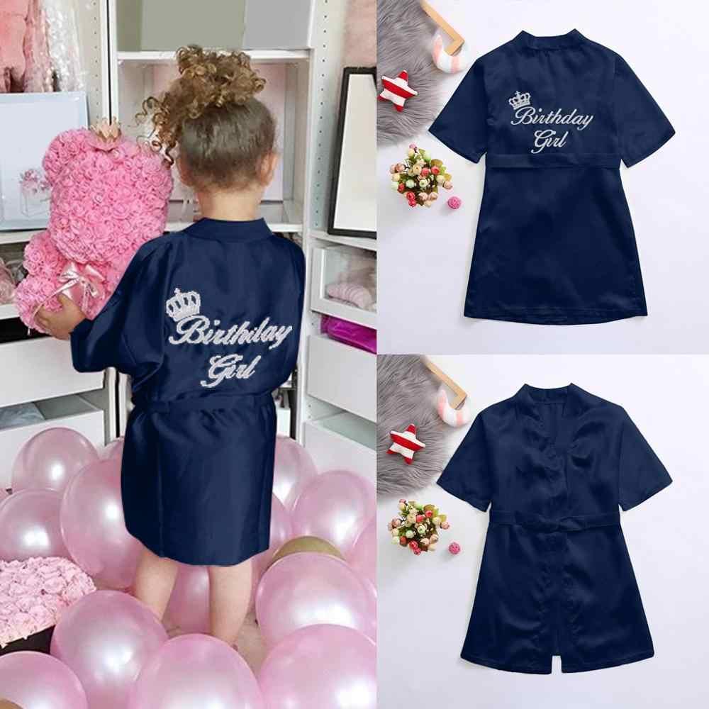 Nowe dzieci szata satynowe dzieci letnie Kimono szlafrok kąpielowy druhna urodziny dziewczyna sukienka jedwabne dzieci dziewczyny szlafrok koszula nocna szata