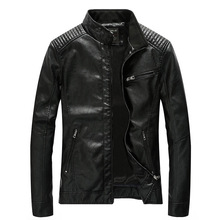 2019 New Men Fashion Faux Leather Jacket Motocycle  Pu CoatFor Autumn Drop Shipping