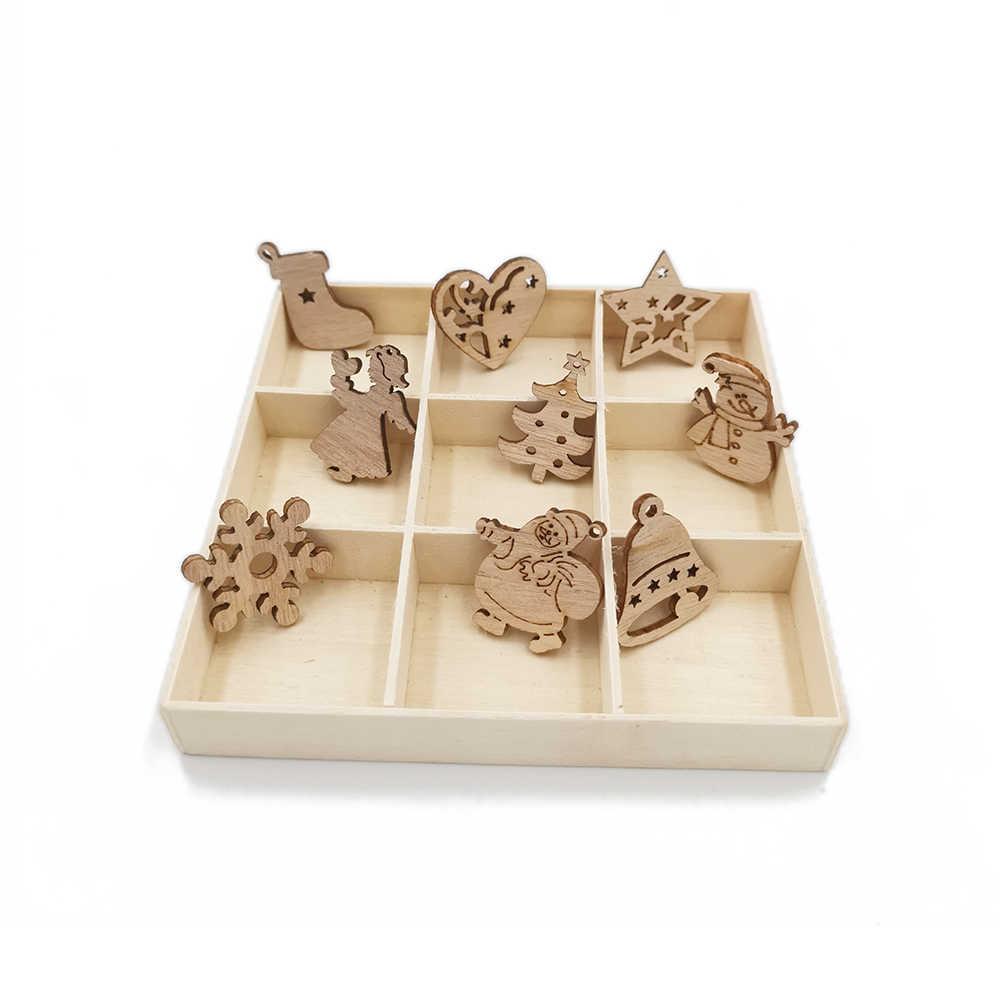 50pcs ไม้เครื่องประดับ Mini Christmas Theme ธรรมชาติไม้ Cutout ชิ้นสำหรับเครื่องประดับต้นคริสต์มาสแขวน DIY Craft Xmas