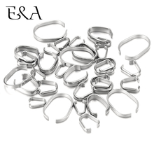 100pcs Stainless Steel Pinch Bails Snap On Clips Pendant Hooks Charm Clasps Silver Tone for DIY Findings Jewelry Making Supplies все цены