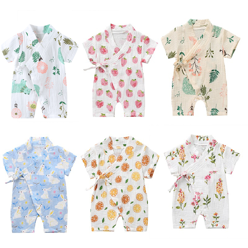 0 18M Summer Baby Girl Boys Clothing  Rompers Jumpsuit Short sleeved Floral Print  Cute Soft Newborn Infant Baby Kimono Playwear