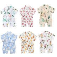 0-18m verão bebê menina meninos roupas macacão macacão de manga curta floral impressão bonito macio recém-nascido infantil kimono playwear