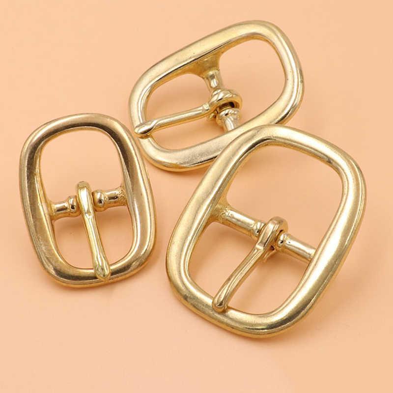 Hebilla de cinturón triglide de latón hebilla de barra central de un solo pasador ovalado para bolso de cuero arnés
