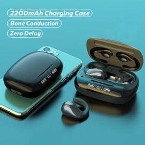 Bluetooth наушники с костной проводимостью, беспроводные наушники 2200 мАч, коробка для зарядки 9D, HiFi наушники с микрофоном, гарнитура для громкой ...